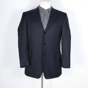 Canali Blue Woven Silk/Wool Dual-Vented Sportcoat